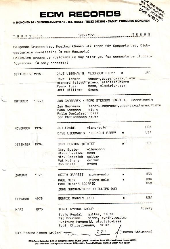 ECM Tourneen 1974/75